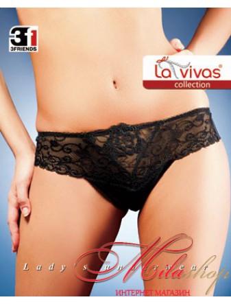 Трусики-бразилиана из сетки и кружева La Vivas 20110