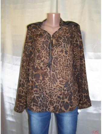 Шифоновая блуза с леопардовым орнаментом Fashion 2053