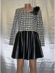 Стильное платье с кожаной юбкой Fashion 2056