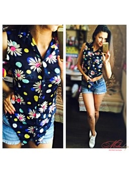Шифоновая блуза с ромашками Fashion 2035