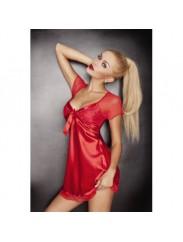 Коротенькая сорочка из атласа DKaren Klara red